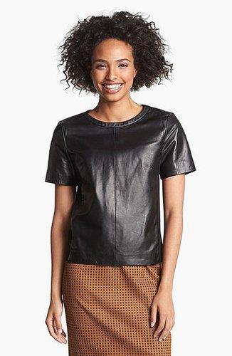 Halogen® Leather Front Top (Regular & Petite) | Nordstrom