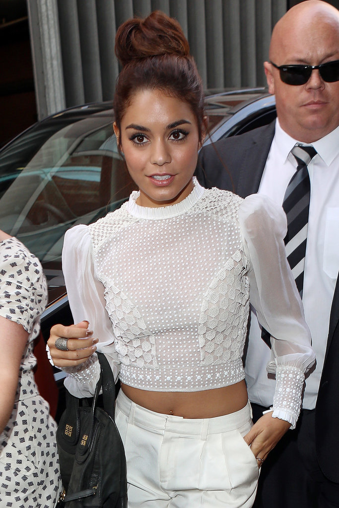 Topknots are one of the biggest hair trends for the season, and Vanessa Hudgens tried on an oversize version that paired excellent with a Summer-white outfit.