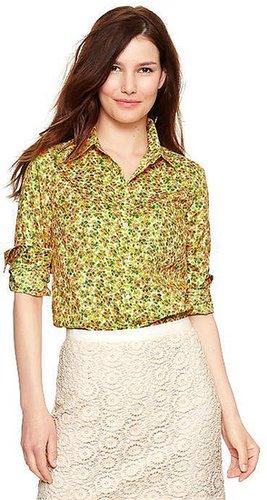 Fitted boyfriend print shirt