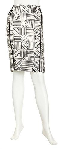 Lafayette 148 New York Lillith Raffia-Embellished Linen Skirt