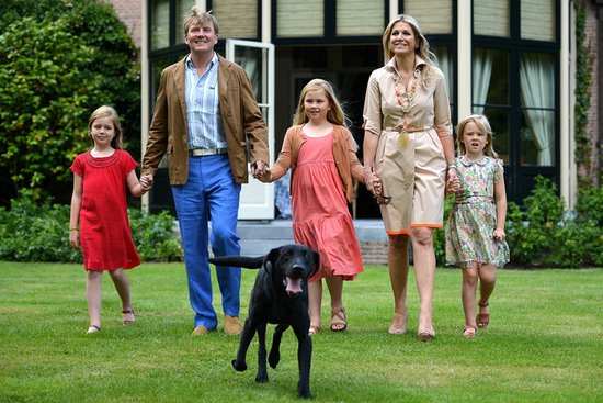King Willem-Alexander, Queen Maxima, their dog Skipper, and the girls walked at Horsten Estate in Wassenaar.