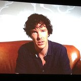 At the Sherlock panel, Benedict sends his love on a video (and tries to spill the Reichenbach Falls secret!)