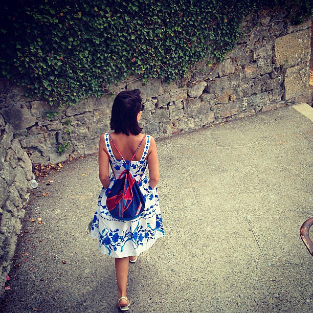Miroslava Duma was the cutest thing going when she stepped out in this blue-and-white sundress and cool backpack. Source: Instagram user miraduma