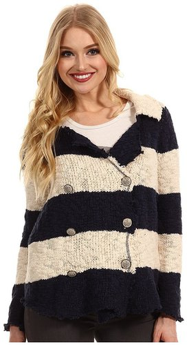 Free People - Cotton Slub Sweater Jacket (Navy/Cream Combo) - Apparel