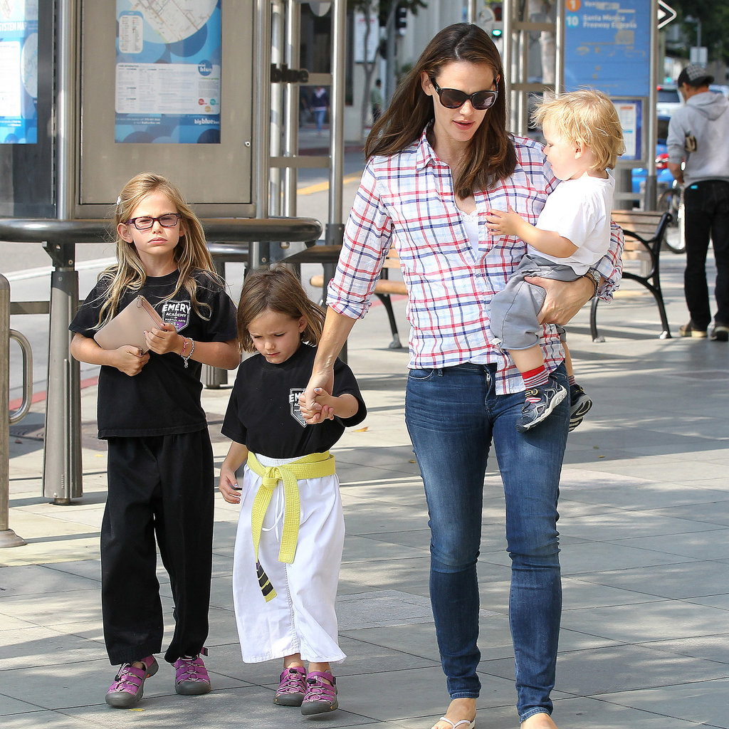 Jennifer Garner took her kids, Violet, Seraphina, and Samuel Affleck, shopping for sporting goods in LA.