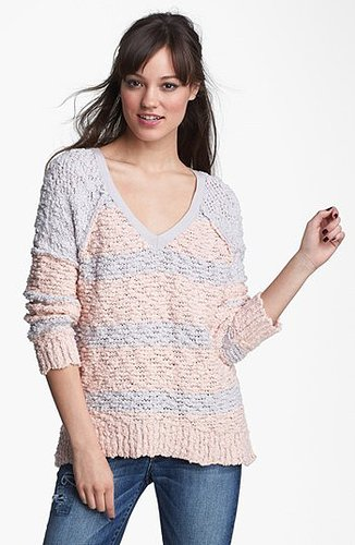Free People 'Songbird' Stripe Pullover Silver/ Ballet X-Small