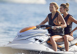 Bar Refaeli rode a Jet Ski with a friend.