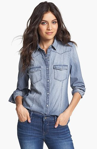 Rubbish Chambray Western Shirt (Juniors) Medium Dark Wash Medium