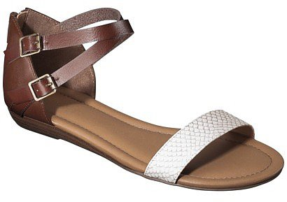 Women's Merona® Elba Silver Wedge Sandal with Back Counter - Cognac