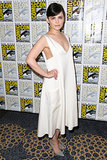 Goodwin wore a white dress with a plunging neckline at a press event for her show, Once Upon a Time.