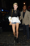 Miley wore super-short denim shorts to hit up London nightclub The Box on July 21.