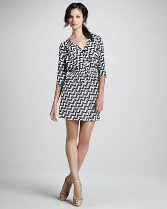 Shoshanna Splash-Print Silk Shirtdress