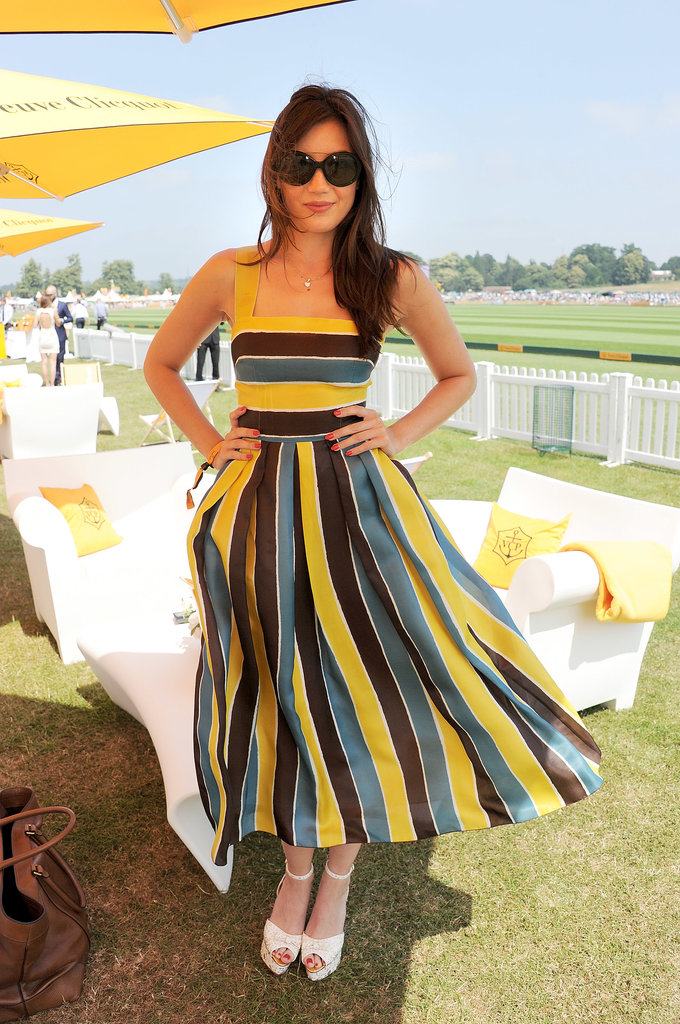 Daisy Lowe's striped Dolce & Gabbana dress moved beautifully in the breeze at The Veuve Clicquot Gold Cup Final.