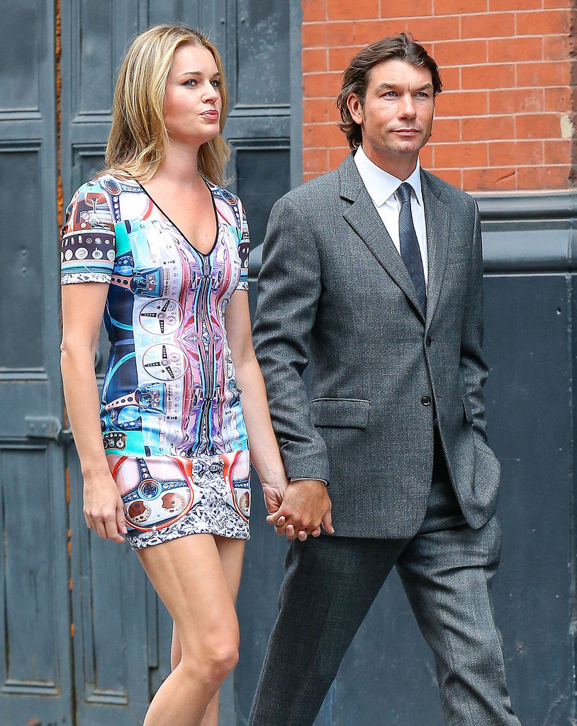 Jerry O'Connell and Rebecca Romijn walked hand in hand.