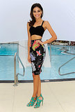A beat-the-heat crop top got a glam twist with a fitted pencil skirt and high-wattage heels.