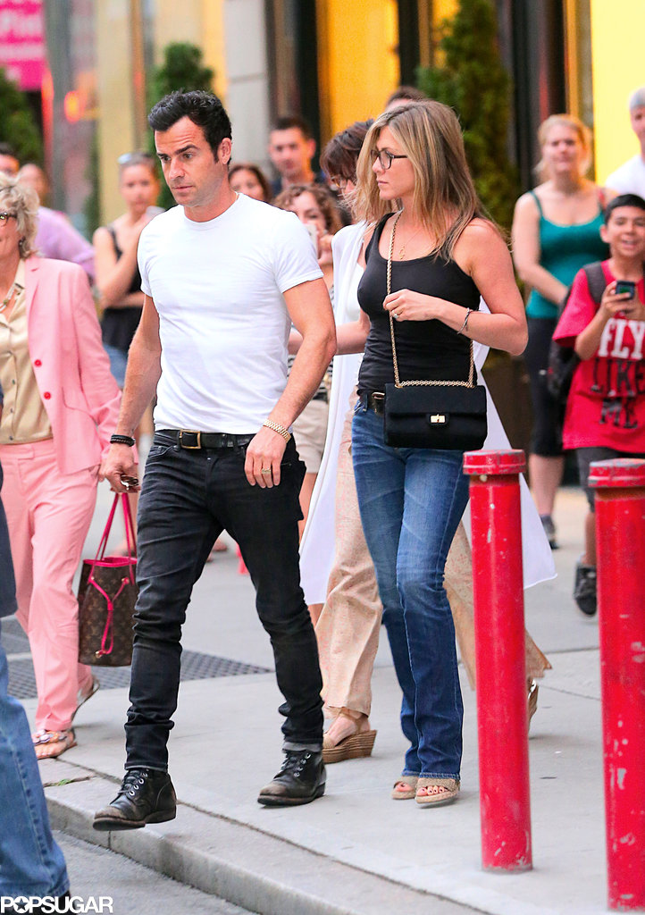 Jennifer Aniston and Justin Theroux headed to dinner with his mother.