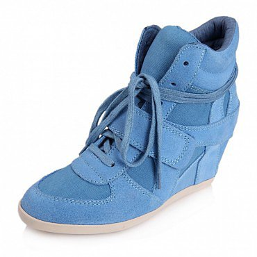 ASH BOWIE SUEDE WEDGE SNEAKERS SKY