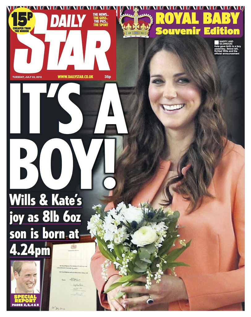 The front page of Daily Star, from England, on July 23.