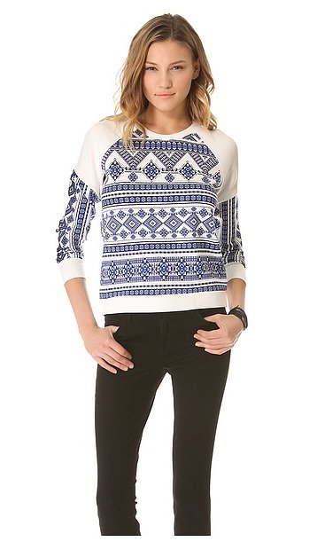Pencey's geo-print raglan sweatshirt ($111, originally $158) has plenty of personality to perk up basic denim.