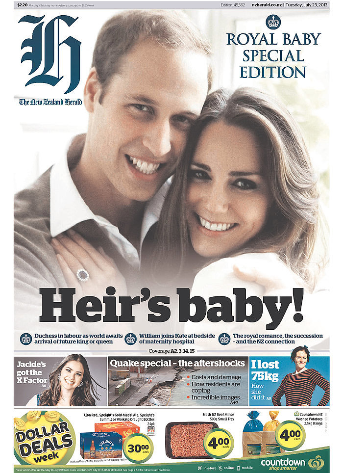 The front page of The New Zealand Herald on July 23.