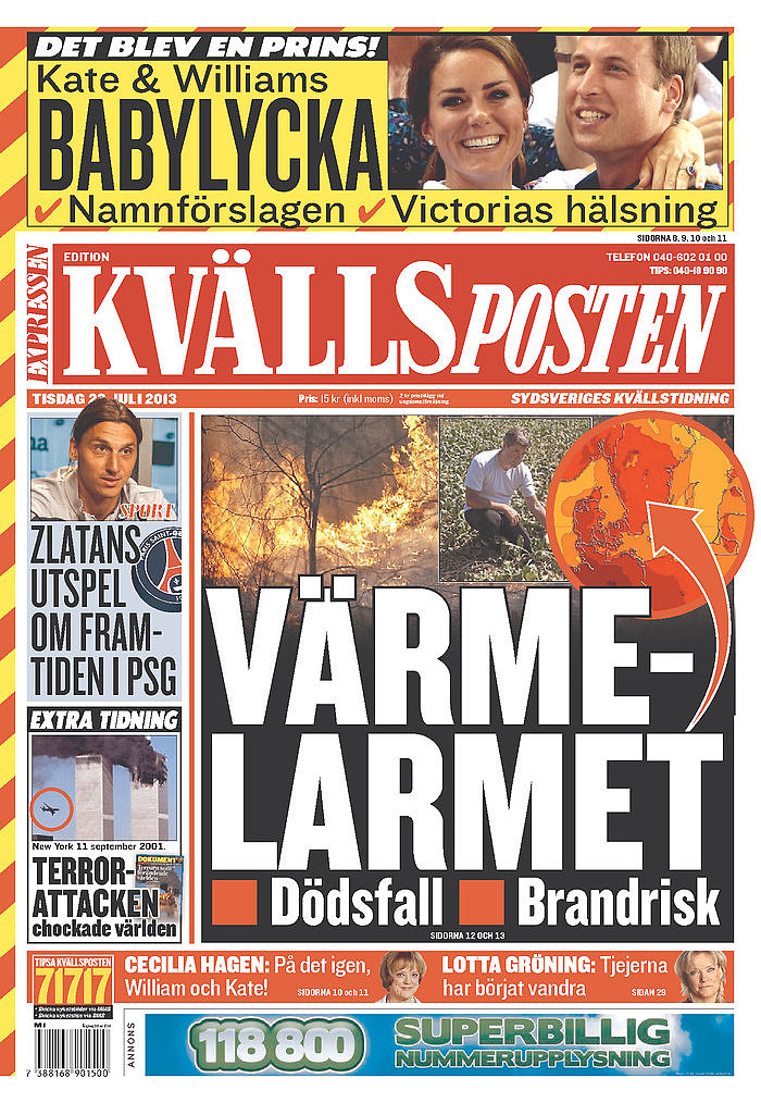 The front page of Kvällsposten, from Sweden, on July 23.