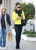 Kate was bumblebee-chic, topping her all-black ensemble, including a lust-worthy Givenchy bag and a vibrant yellow tee by Alexander Wang sweater in December 2011.
