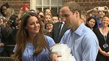 The Duke and Duchess of Cambridge smiled as the crowd snapped pictures of the newborn prince.