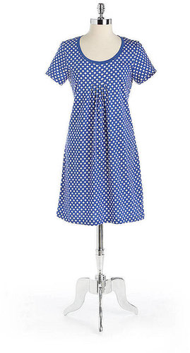 LORD & TAYLOR Short-Sleeved Dotted Cotton Chemise