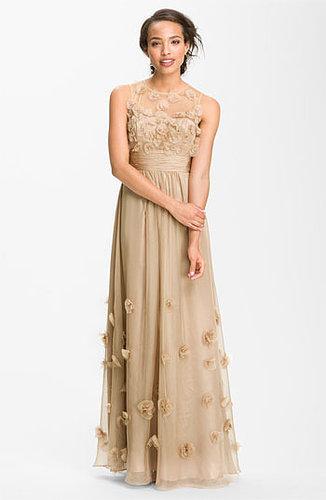 JS Collections Floral Applique Chiffon Gown