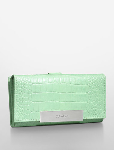 Croco Embossed Leather Mega Continental Wallet