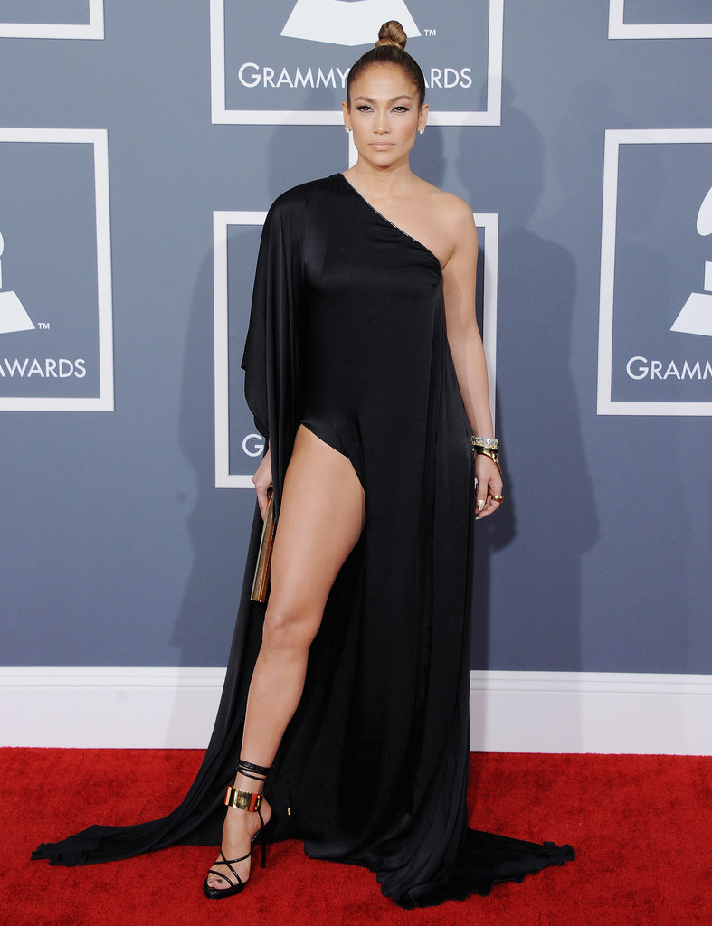 Jennifer Lopez took the thigh-high slit trend to a bold new level in a black Anthony Vaccarello dress at the Grammys in February 2013.