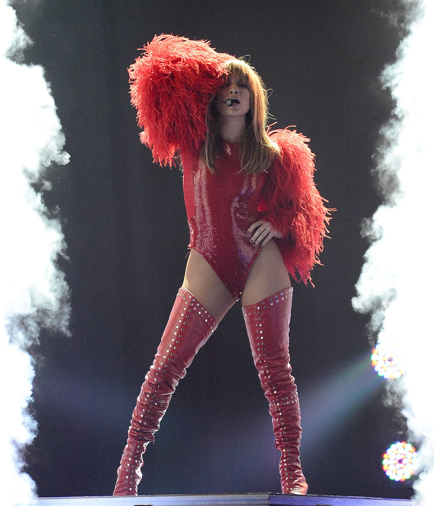 Jennifer Lopez wore a sexy red ensemble for her Billboard Music Awards performance in May 2013.