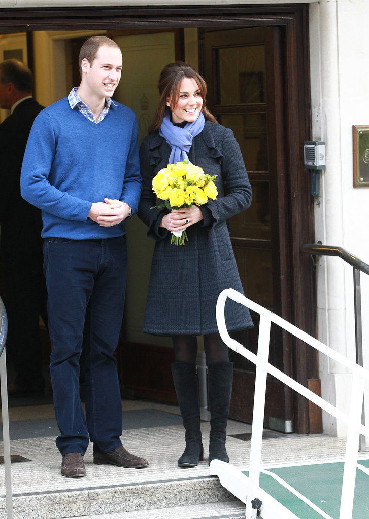 Prince William accompanied Kate Middleton for a photo as she left King Edward VII hospital, where she was treated for acute morning sickness in Dec. 2012. This was shortly after they announced they were expecting.