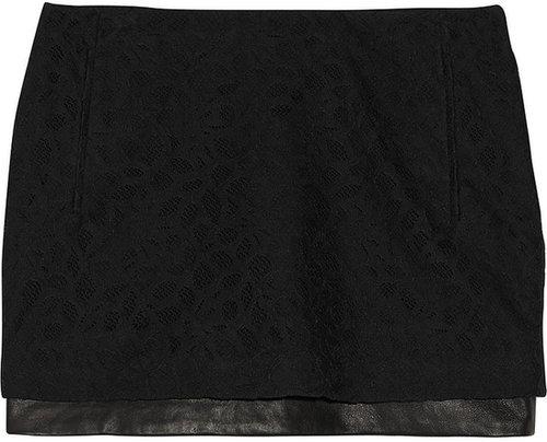 Diane von Furstenberg Elley leather-trimmed lace mini skirt