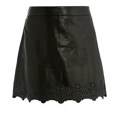 Rag & Bone Paris laser cut leather skirt