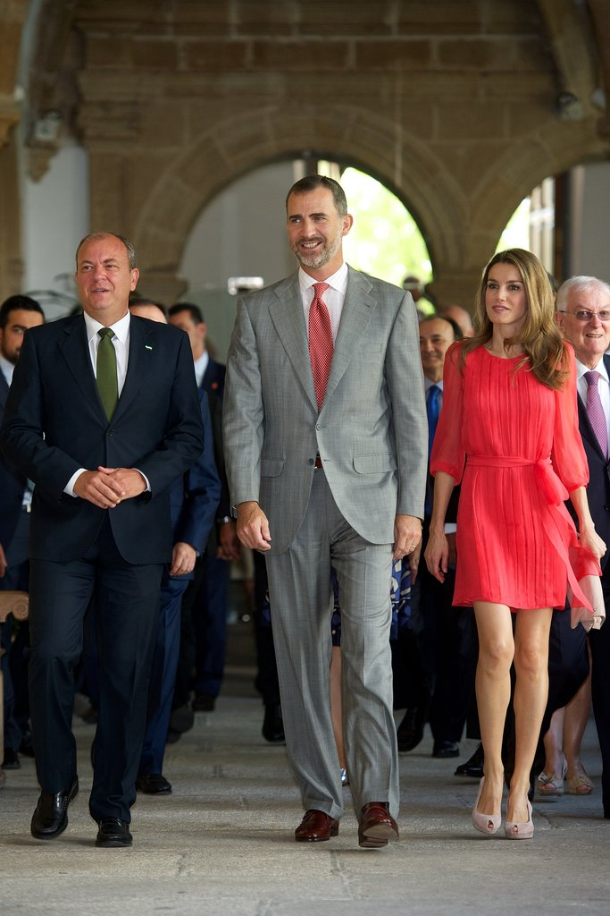 Princess Letizia of Spain made an official appearance in a feminine pleated dress and nude peep-toes while attending the Instituto Cervantes directors meeting.