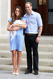 For her first postbaby appearance, on July 23, Kate Middleton channeled the late Princess Diana in a custom-made blue polka-dot Jenny Packham dress as she cradled the royal baby outside St. Mary's Hospital.