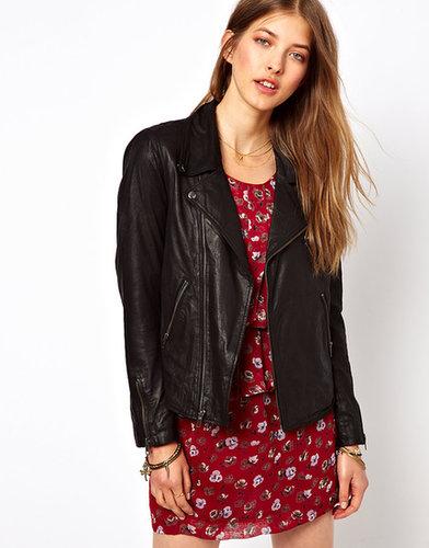 Ganni Leather Biker Jacket in Coated Black