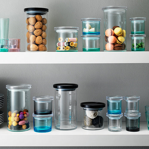 With just a hint of color, these glass jars (from $17) are a beautiful way to organize open kitchen shelves.