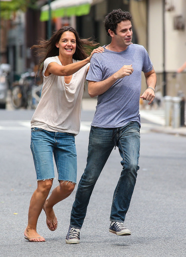Katie Holmes and Luke Kirby filmed a running scene on Wednesday.