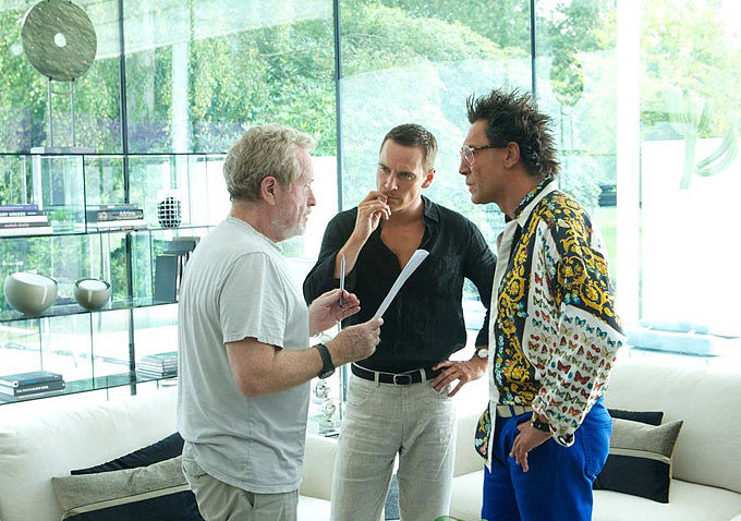 Director Ridley Scott with Michael Fassbender and Javier Bardem on the set of The Counselor.