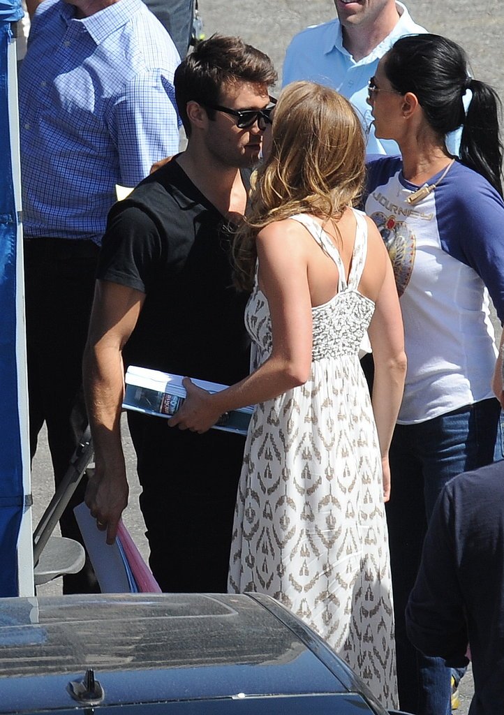 Emily VanCamp and real-life love Joshua Bowman kissed on their Revenge set in LA.