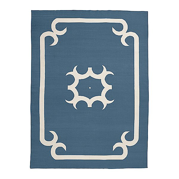 Serena and Lilly is having a sale on select pieces like this neutral navy rug ($138-$579, originally $275-$1,150); fitting for either a bedroom or living space.