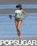 Gisele Bündchen wore a leopard bikini on the beach in Costa Rica.