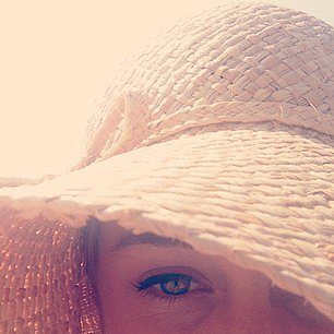 Lauren Conrad's iconic liner peeked out from under her floppy hat. Source: Instagram user laurenconrad