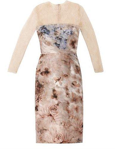 Valentino Garden-print silk and lace dress