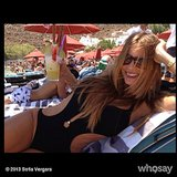 Sofia Vergara enjoyed a drink by the pool. Source: Sofia Vergara on WhoSay