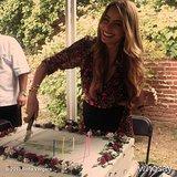 Sofia Vergara sliced into her Summer birthday cake. Source: Sofia Vergara on WhoSay