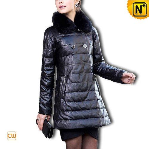 Designer Black Leather Down Coat CW610013 - cwmalls.com