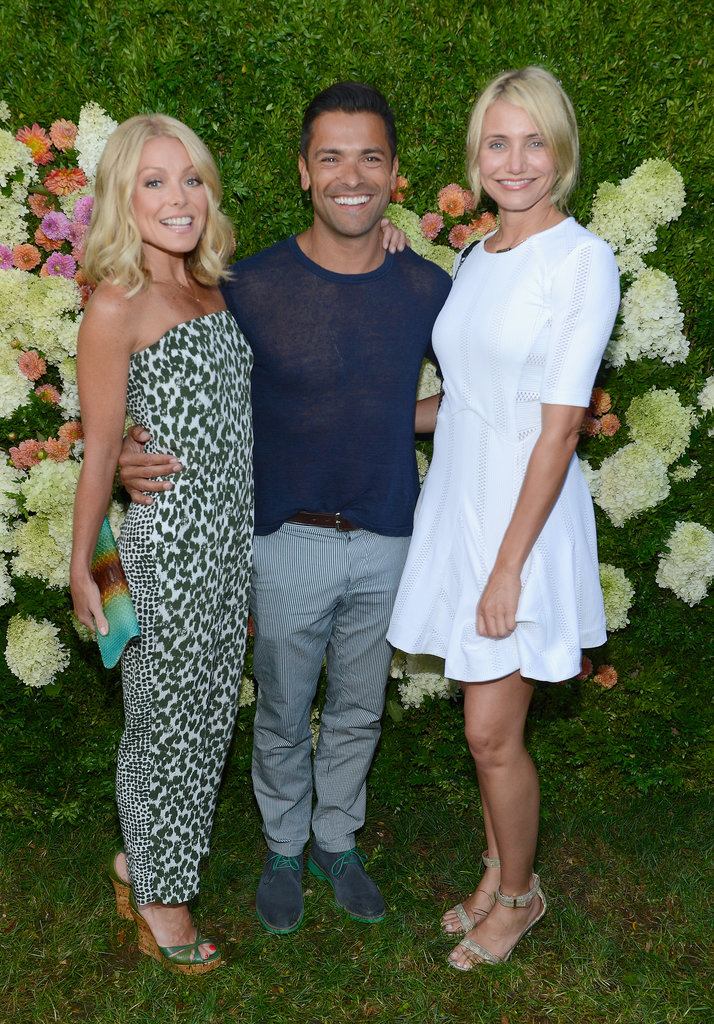Cameron Diaz partied with Kelly Ripa and Mark Consuelos at the Baby Buggy's Summer Dinner in the Hamptons.